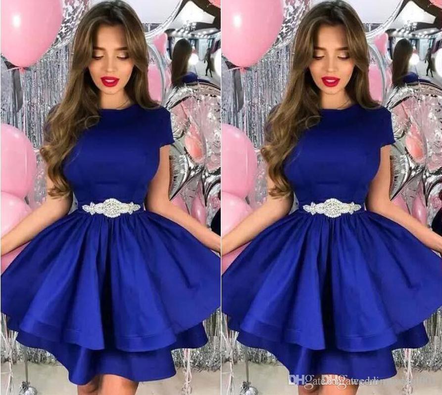 Setwell 2019 로얄 블루 보석 라인 칵테일 드레스 짧은 소매 두 계층 짧은 미니 파티 댄스 파티 드레스 파란색