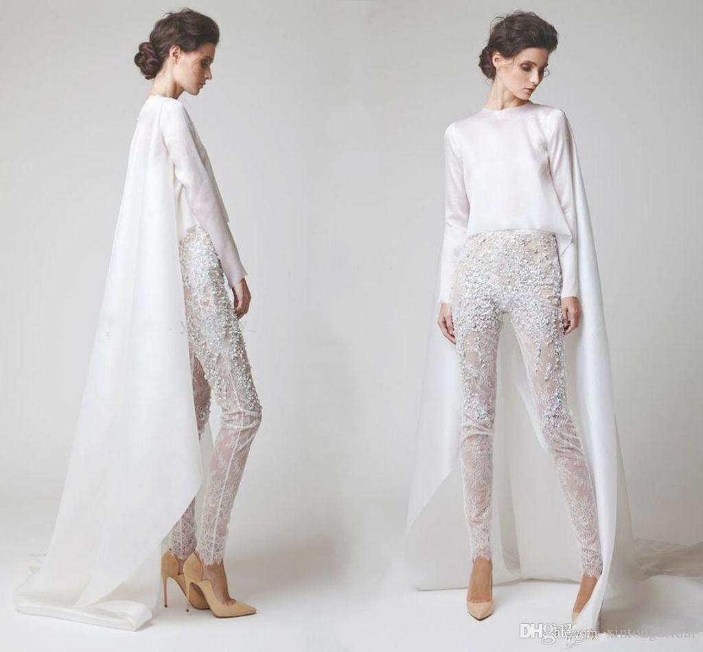Großhandel Sexy Weiße Abendkleider Zweiteilige Chiffon Perlhose  Durchsichtig Lange Ärmel Elio Abou Fayssal Abendkleider Mit Jacke Von  Xintongbridal,