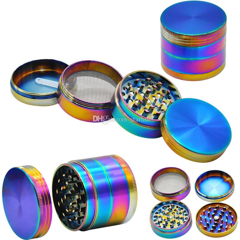 Rainbow Smoking Herb Grinders 4 Parts Ice Grinder Tobacco Filter Grinder Diameter 40mm 50mm 60mm Free shipping DHL WX9-810