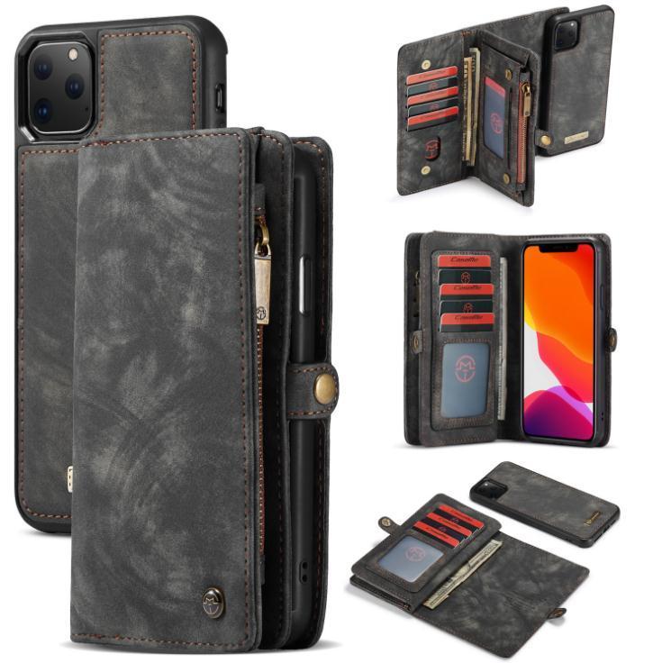 für iPhone 11 Pro Max XR 8 Samsung s10 s9 Plus-A20 A20E Luxus 2in1 Kreditkarte-Schlitz-Beutel-Leder-Mappen-Kasten-Abdeckung Portective Flip Gehäuse