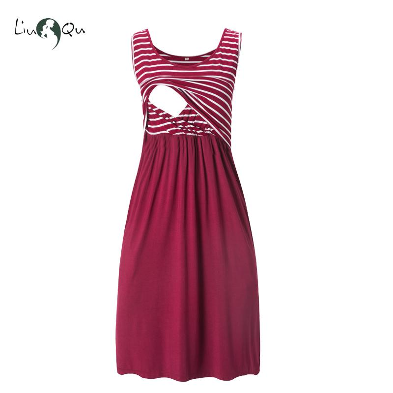 Liu & Qu Women's Sleeveless Nursing Dress Stripe Maternity Dress Breastfeeding Pregnancy Clothes Pregnant Women Dresses Soft Y190522