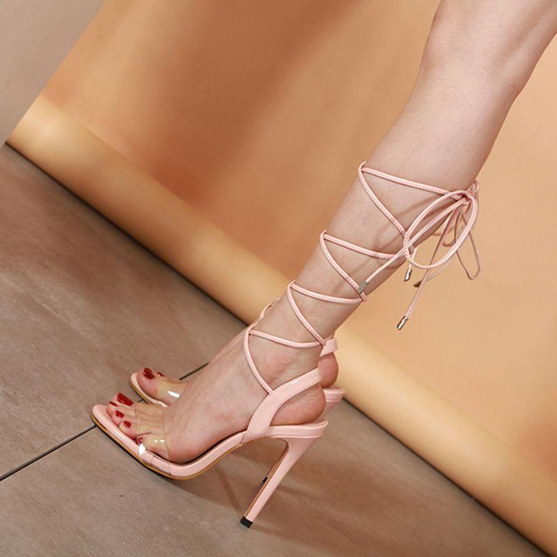 Mini2019 Etrafında Ayak Bileği Chalaza Roma Yüksek Sandalet Gece Kulübü Ile Gitmek Mükemmel Yüksek topuklu Ayakkabılar 35-40