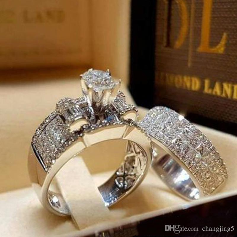 Luxury Size 5 6 7 8 9 10 11 Diamond Rhinestone Wedding Ring Set Gift for Love Girlfriend Lovers Couple Ring Fast Free Shipping