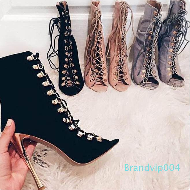 Lucky2019 High-heeled Italy Rome Wind Rivet Bandage Fine Cool Boots Breeze Dew With Women's Shoes