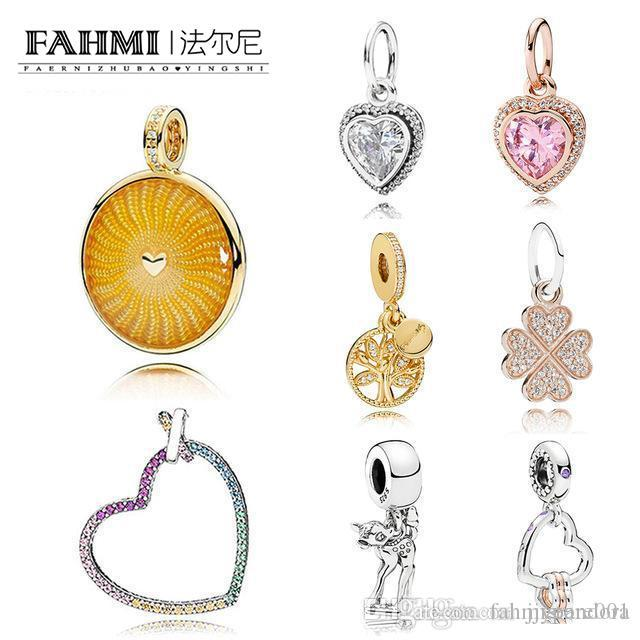 DoniA 100% 925 Sterling Silver Classic Charm Shining Sun Colorful Rainbow Heart 18K Gold Tree of Life Rose Gold Clover Pendant Free Shipping