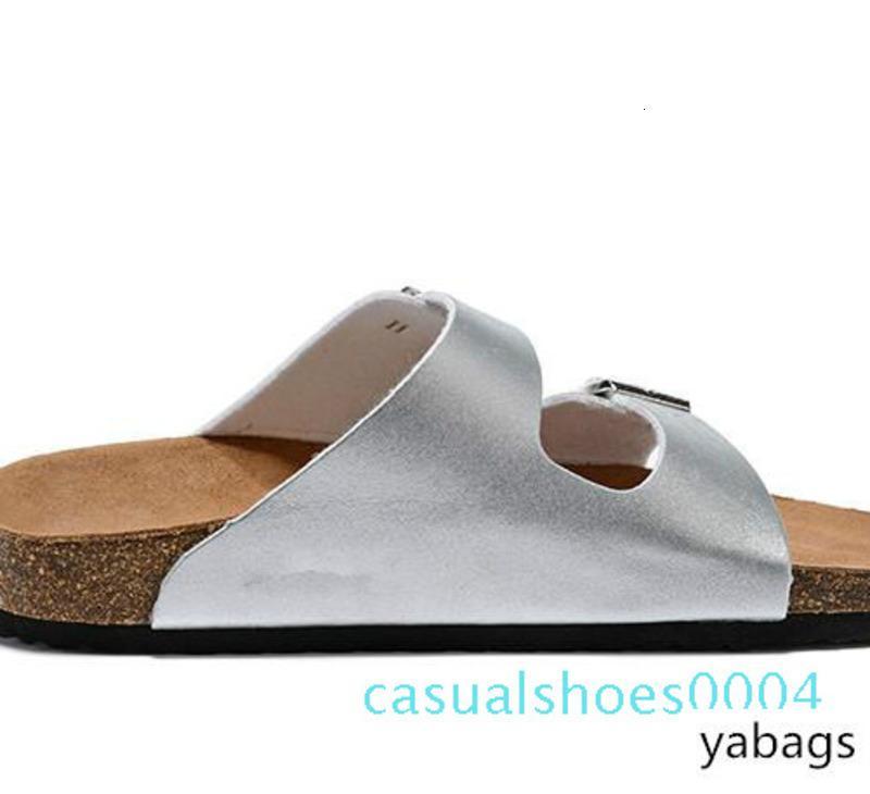 Sandalias planas de las mujeres Zapatos ocasionales de los hombres famosos de la marca doble hebilla de Arizona verano de la playa de calidad superior del cuero genuino de Orignal zapatillas con DF24