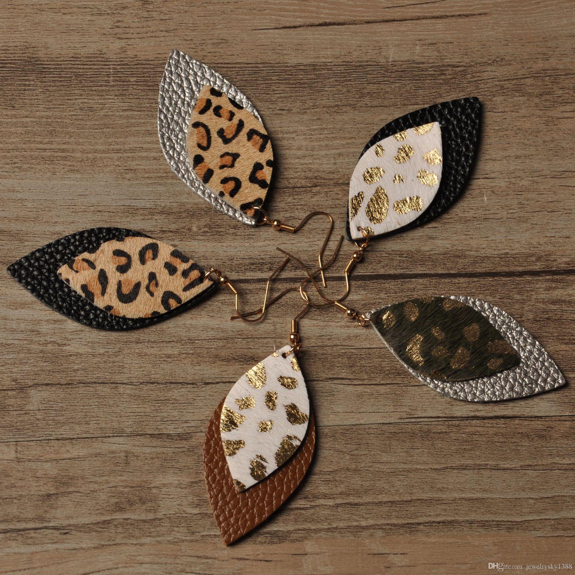 Hot Leopard leather earrings New Designer Real leather earrings European and American leopard double-layer leaves earrings