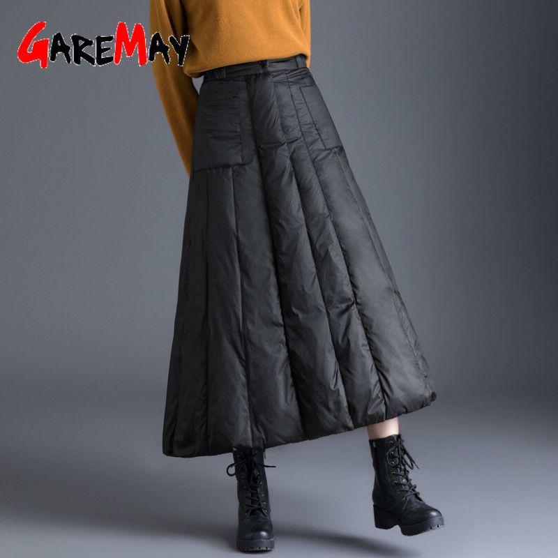 Юбки Gearemay Зима Женская утка Дамб юбка с высокой талией Повседневная длинная для женщин Толстые теплые женские мягкие черные плюс размер