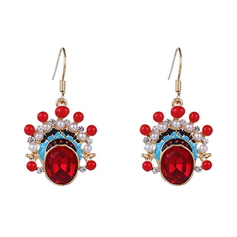 Toptan Moda Kırmızı Elmas taklidi İnci Küpe Yüksek Kalite Kulak Kanca Kadınlar Popüler Aksesuar Bırak Dangle Küpe Noel hediyesi olarak