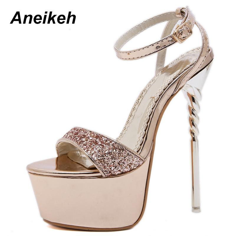 Aneikeh 2019 Sequined Cloth Fashion Summer Thin High Heel Sandals Party Shallow Pointed Toe Solid Buckle Strap Open Shoes 35-40 MX200407