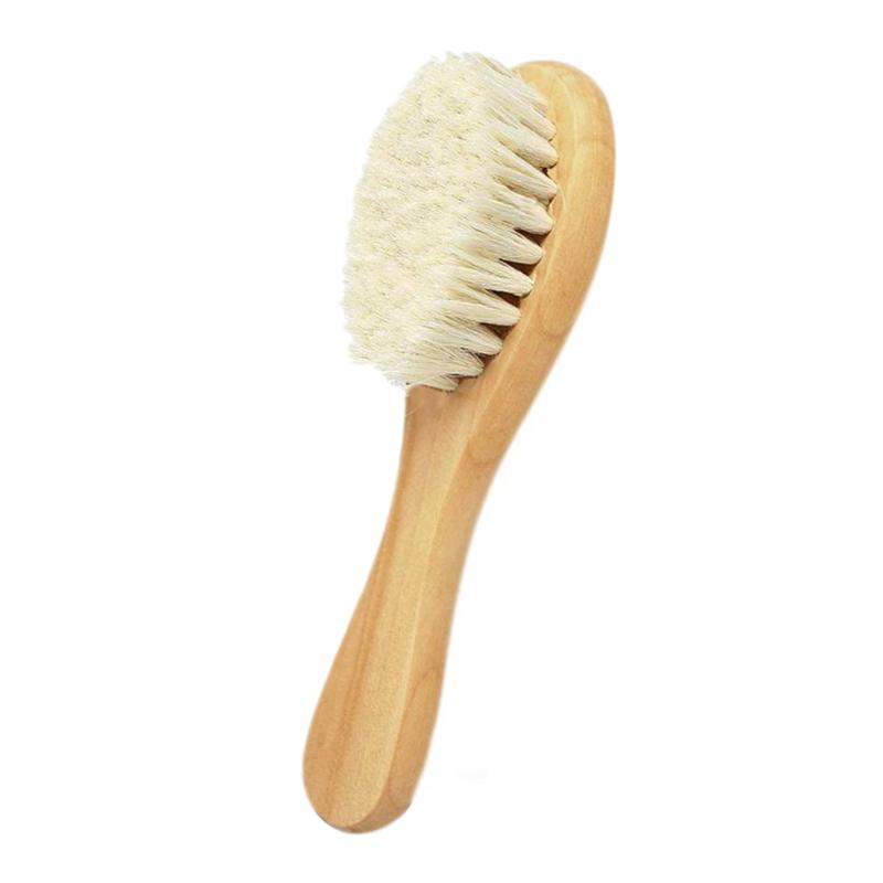 Mango de madera natural, suave cepillo para el pelo del bebé de prensa y Super suave pelo de cabra Adecuado para recién nacidos y niños de madera natural Han