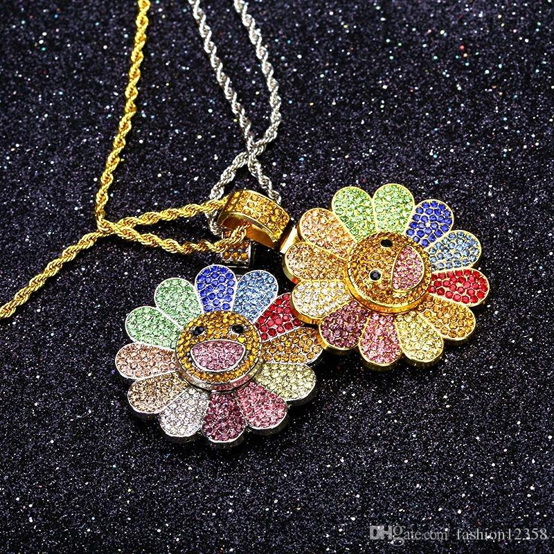7 estilos Oro rotativo girasol para hombre collar de la joyería pendiente de Hip Hop manera de las mujeres hacia fuera helado collares regalo de Navidad