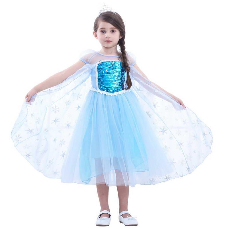 Ragazza squisita Abbigliamento per bambini Nuova estate principessa Elegante manica corta scintillante maglia patchwork di alta qualità cosplay principessa abito B11