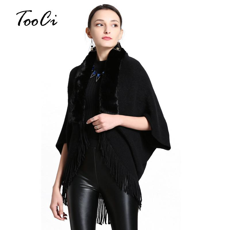 Spring And Autumn Womens Fashion Fake Fur Collar Cashmere Sweater Poncho Women Long Thick Knitted tassel Cardigan Capes