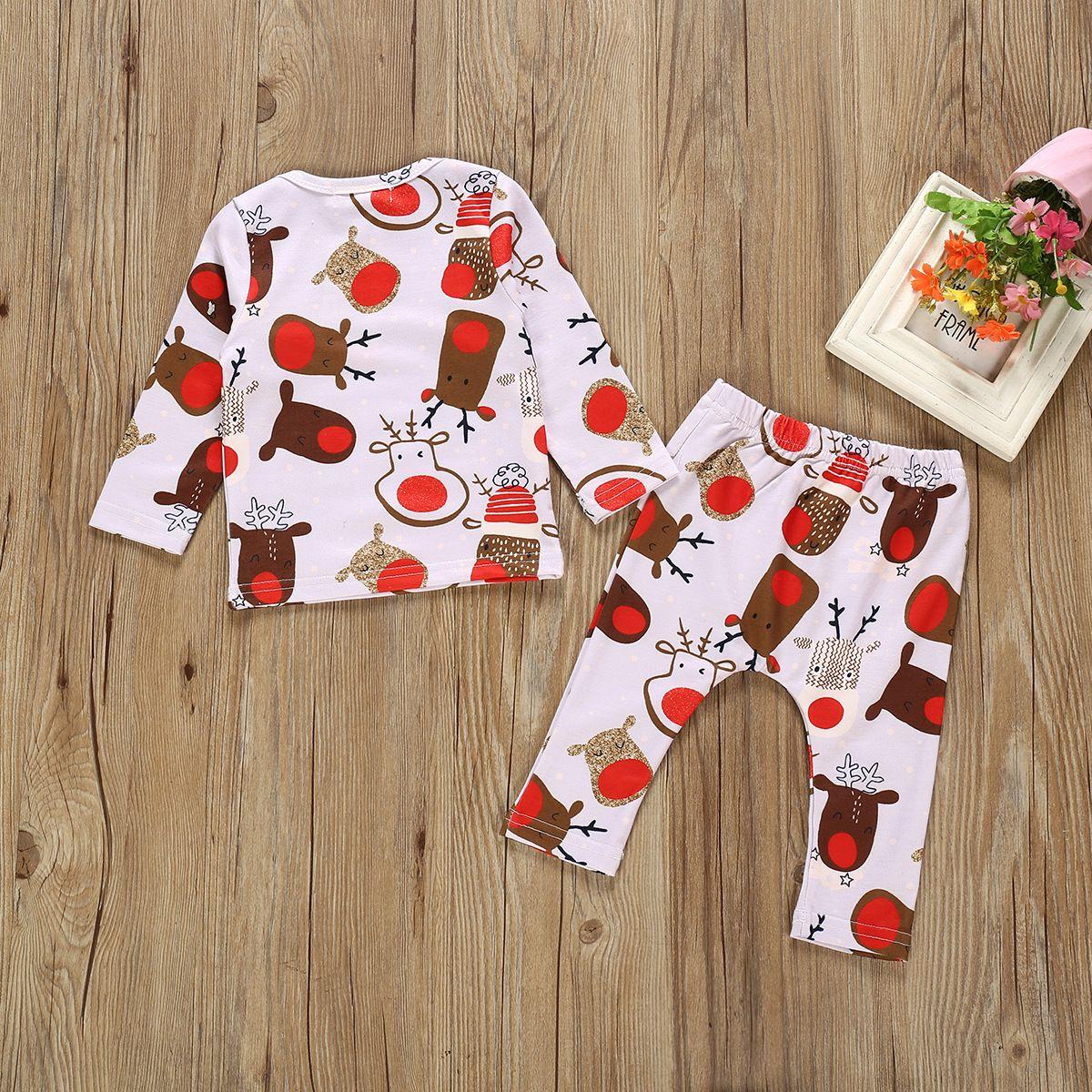 Mignon bébé d'automne Filles Garçons à manches longues de Noël Cartoon Imprimer Hauts T-Shirt + Pantalons Pantalon Costume Set New