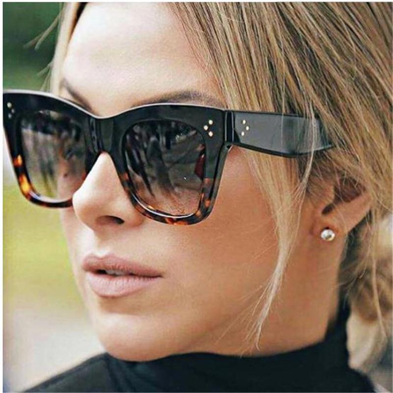 2018 cuadrado de la manera Gafas de sol de las mujeres de lujo de nuevo ojo del gato gafas de sol del ojo de gato de la vendimia Gafas de sol Mujer UV400