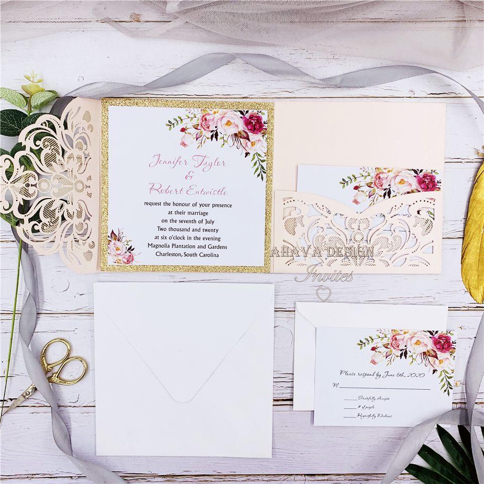 Romantique Blush Pink Spring Flower pailleté Laser Cut poche mariage invitation Kits, par UPS gratuite Expédié