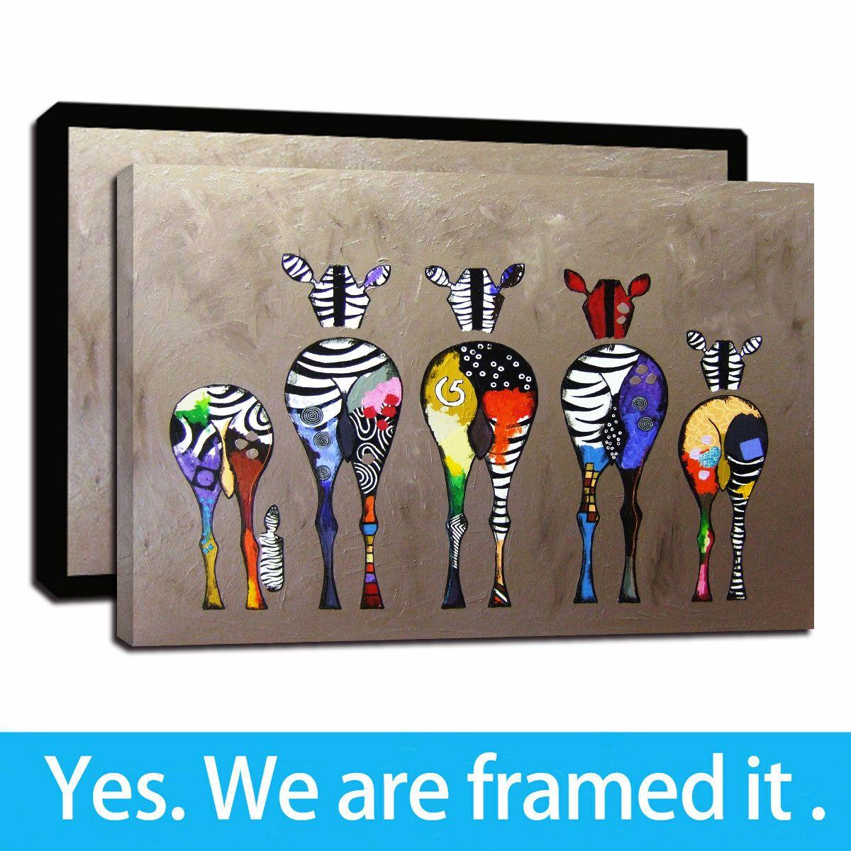 Volver cebra impresión de lienzo Arte de pared animal imágenes Pinturas para la sala de estar dormitorio principal Decoración Lámina Caballo ilustraciones - listo para colgar