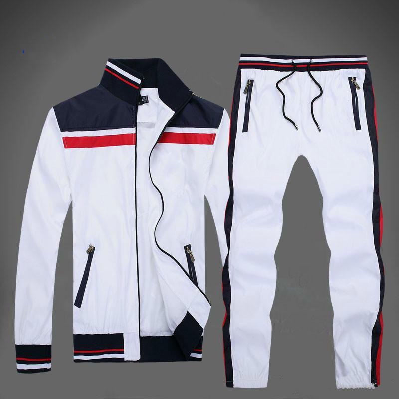 2019 Automne Hommes S Complet Zip Survêtement Hommes Sport Suit Blanc Pas Cher Et Pantalon Suit À Capuche Et Pantalon Ensemble Sweatsuit Hommes