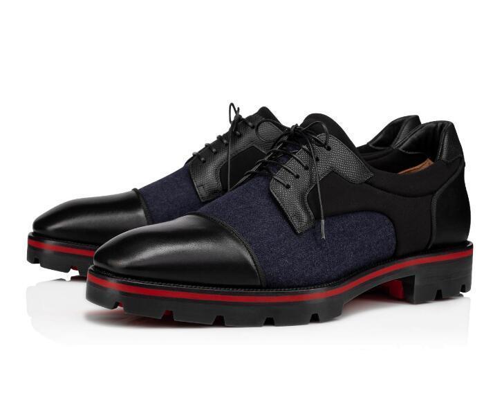 Rouge Gentleman Mika Bas Sky Derby Mocassins Noir grainé Leathers Calfskin chaussures de sport pour soirée de mariage S-qualité Lug Sole Oxford Walking