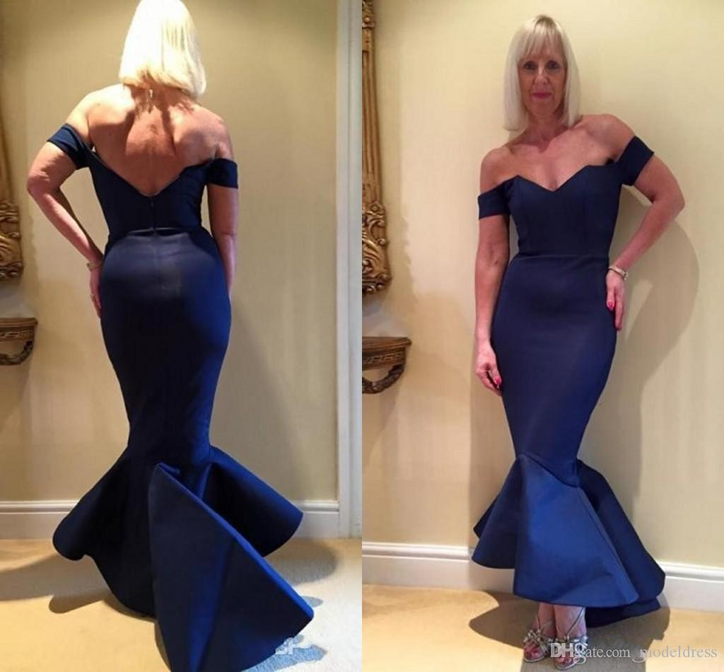 Dark Navy Mermaid Mother Of The Bride Dresses 2019 Off Shoulder High Low Satin Women Evening Party Gowns Wedding Guest Dress Plus Size