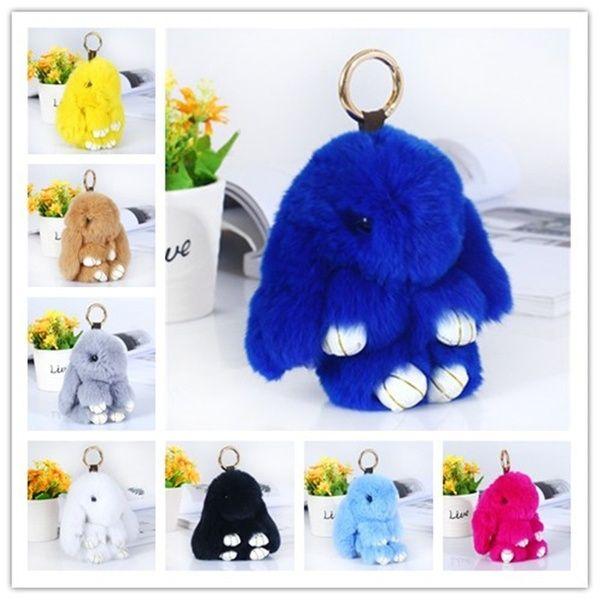 Bunny Rabbit Fur Bag Handbag Keychain Pom Doll Ball Key Chain Ring Pendant New//