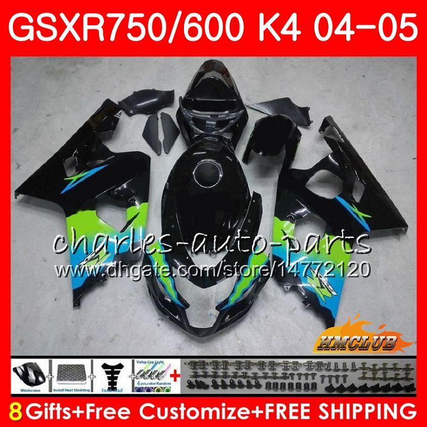 Bodys para Suzuki 750 GSX R600 R750 GSXR600 GSXR 2004 2005 7HC.29 600 GSXR750 04 05 GSXR600 K4 GSXR750 venta caliente negro 04 05 carenados