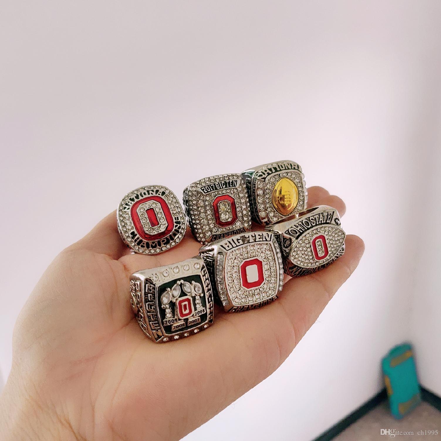 6 шт 2Ohio государственных конского каштаны Национального Чемпионат Чемпион Ring Set Сплошных Мужчины Вентилятор Brithday подарки падение Оптовая доставка