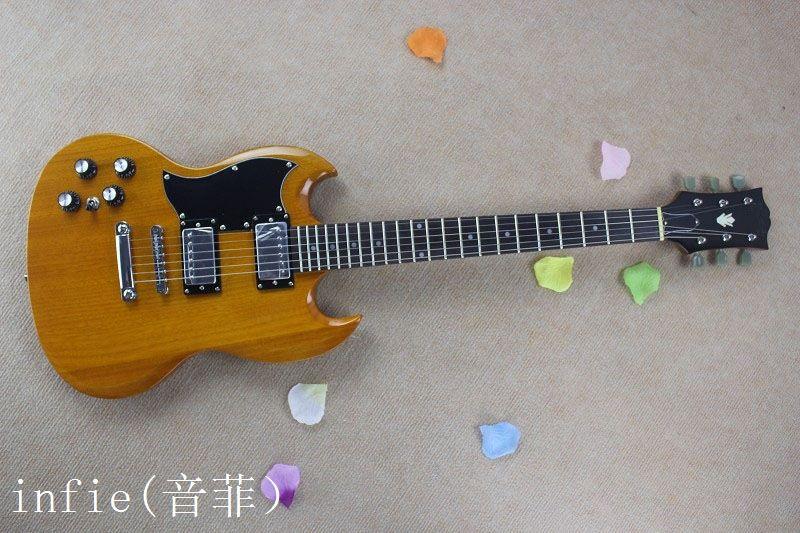 Buena venta al por mayor de encargo de caoba de alta calidad libre de sonido salido de la mano SG -400 guitarra eléctrica de madera de color
