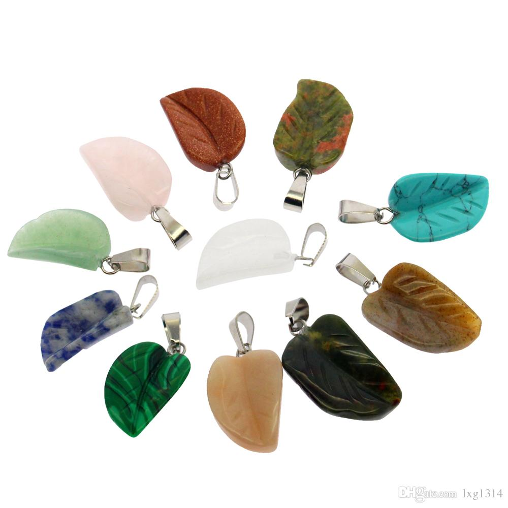 Moda sıcak satış doğal mücevher kolye seti 12 karışık renk yarı kıymetli taş yaprak şekli akik kolye
