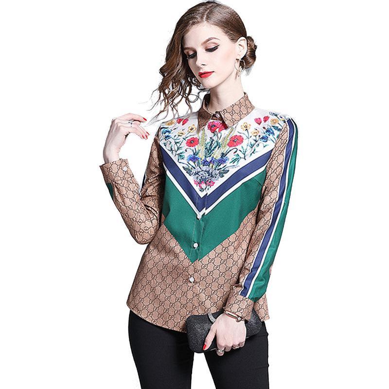 Nuevos vestidos para mujeres europeas y americanas con cuello vuelto y camisas de manga larga con estampado de manga larga para mujer