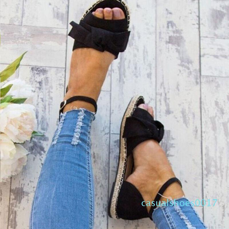 Womens Sandals Plus Size 35-43 Flats Sandals para 2020 Sapatos de Verão Mulher Peep Toe Sapatos casuais saltos baixos Sandalias Mujer Preto