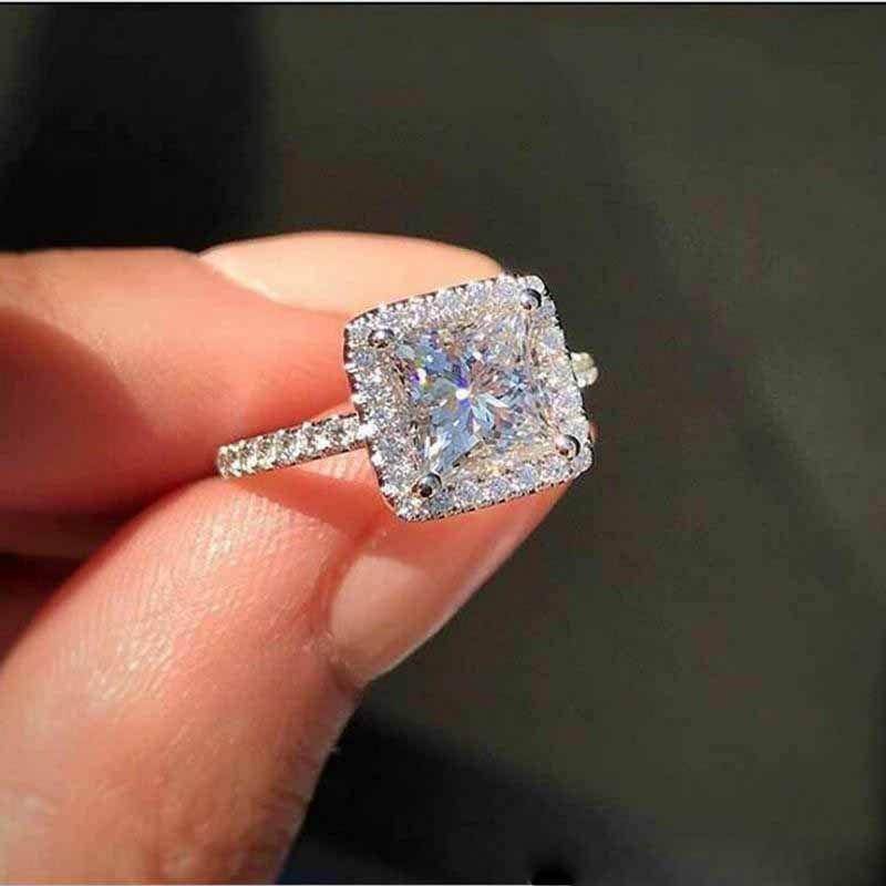 Shinning süße nette Luxuxschmucksachen 9625 Sterlingsilber-Prinzessin Cut Weiß Topaz CZ-Diamant-Edelstein-Frauen-Hochzeits-Band-Ring für Liebhaber-Geschenk