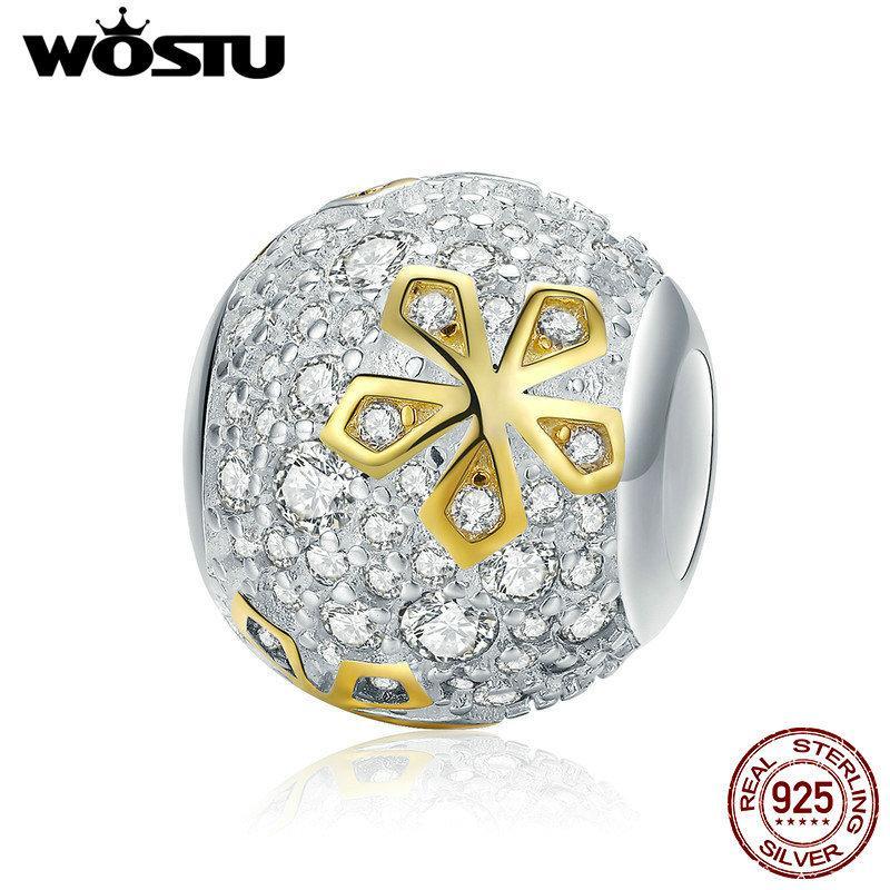 WOSTU Yeni Geliş 925 Gümüş Parlak Altın Renkli Çiçek Boncuk Fit Charm Bilezik Kolye Moda Romantik Takı CQC978