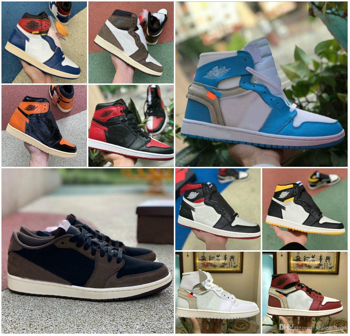 2019 Shoes New Alto 1 OG MID X Travis Scotts Basquetebol Turbo Verde Origin Story Gs Banned NRG X Retroes União 1s Unc Branco Azul Low Shoes