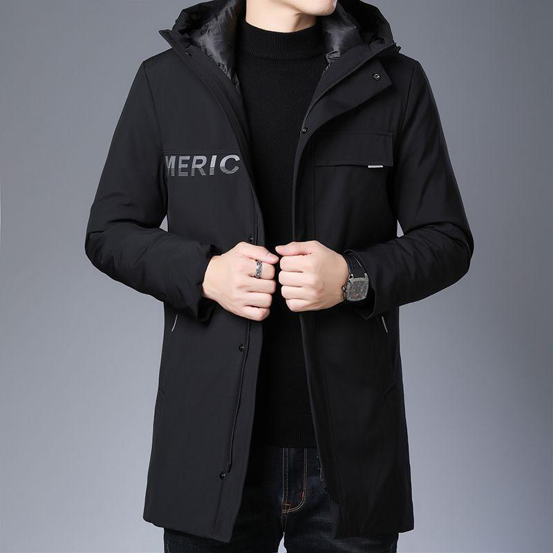 Aşağı Coat Erkek Gri Siyah Elbise 4XL Duck Hollirtiger Uzun Yeni Erkek Giyim Kış Sıcak Aşağı Ceket Kapşonlu Kalın İnce
