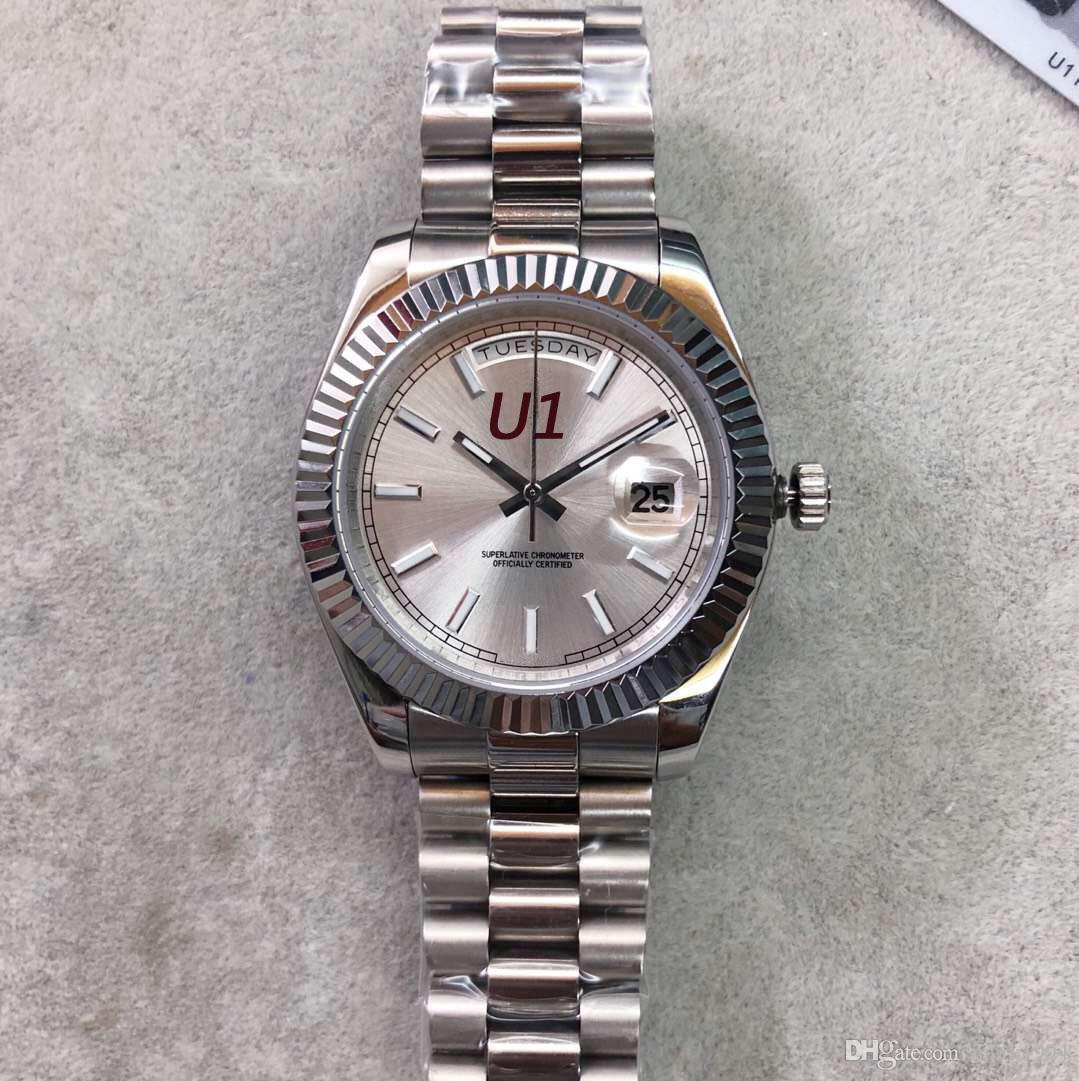 U1 calda della fabbrica di vendita Mens Watch GIORNO DATA bianco Viso Big Data Meccanica automatici della vigilanza degli uomini di vetro dello zaffiro Acciaio Mens Watch