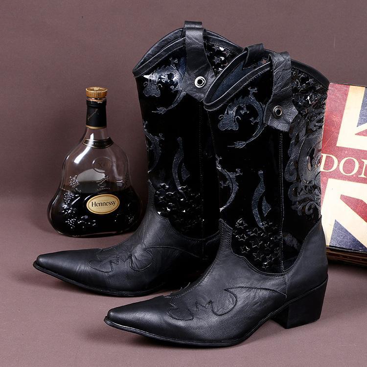 hauts talons d'hiver bottes italiennes bottes de cowboy de broderie haut bout pointu haut robe chaussures de mariage des hommes