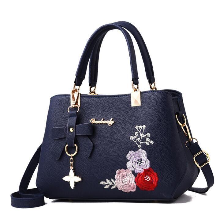 Sacola de flores bordada saco das mulheres Moda pu bolsa de couro das senhoras High-endwomens sacos de ombro saco do mensageiro Bolsa de grande capacidade