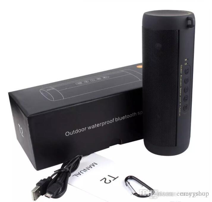 Горячий Оригинальный T2 Bluetooth Speaker Водонепроницаемый портативная Открытая беспроводная мини колонка Box спикер Поддержка карты TF FM стерео Привет-Fi Boxes