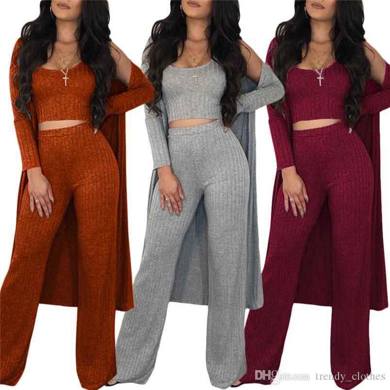 Women Casual 3 piece set Vest+Trousers+Cloak Long Sleeve Dress Smock sweatsuit Solid Color Shirt Fall Fashion Clothes Free Shipping 1536