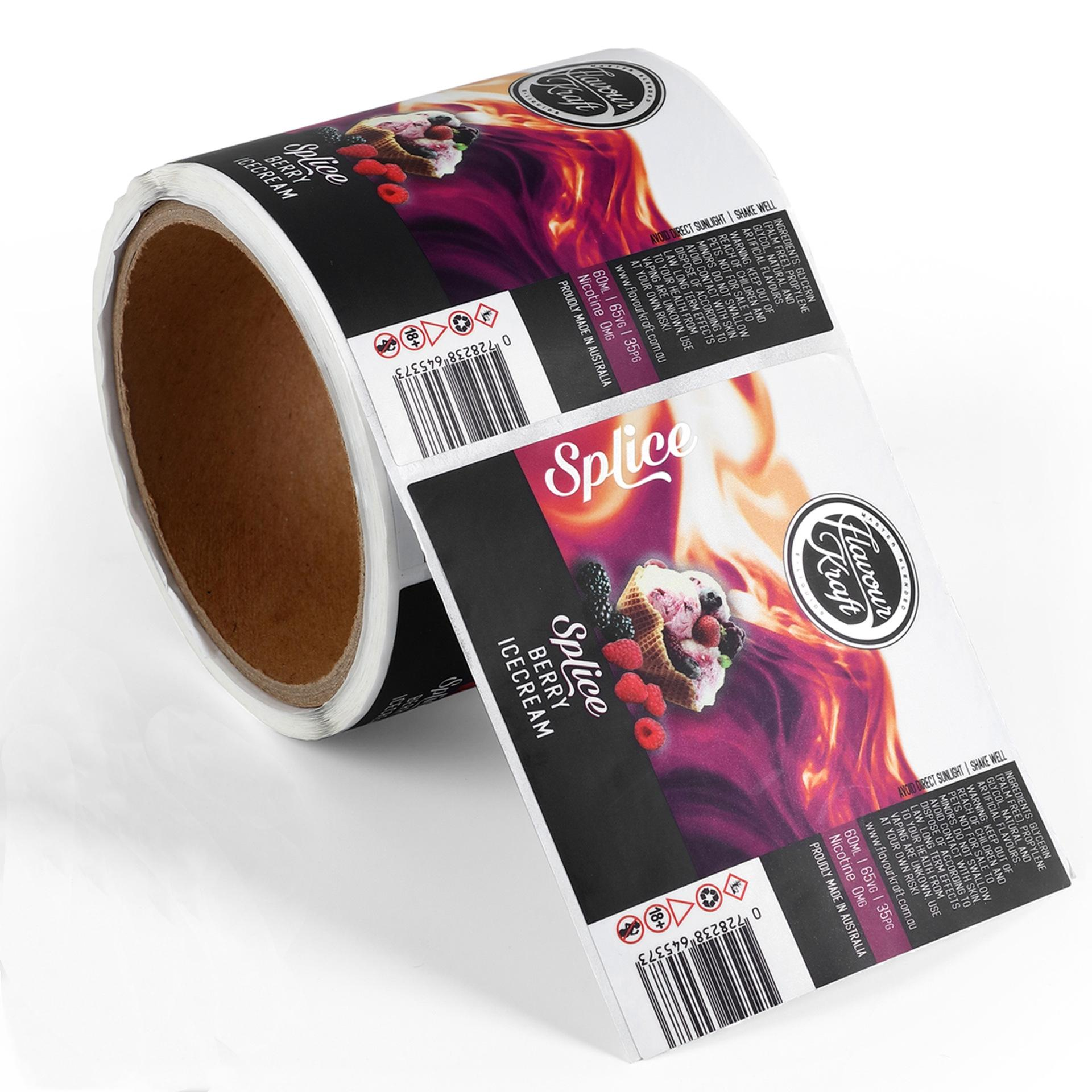 Custom Coated Paper Food Labels Stickers Printed Colorful Bottle Seal Package Stickers Labels with High Quality
