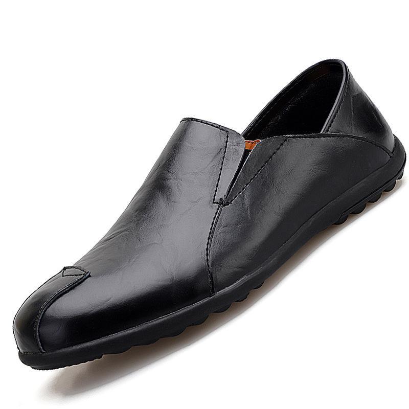 2020 Homens Spring Summer Sapatos de couro respirável Flats Loafers Homens calçados casuais moda de luxo Slip On Driving Big Size
