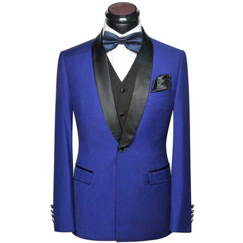 Royal Blue Hochzeit Mann-Klagen 2019 Schal Revers Slim Fit Dreiteiliger Jacke Schwarze Hosen Weste Neueste Design Bräutigam Smoking