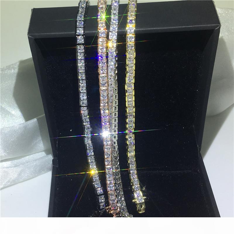 4 색의 연인 테니스 팔찌 다이아몬드 화이트 골드 여성 웨딩 소품에 채워진 파티 참여 팔찌