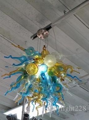 Vente chaude Mini Lustre De Cuisine LED Économie D'éclairage Source Source Dale Chihuly Style Soufflé À La Main En Verre De Murano Pendentif Lampe