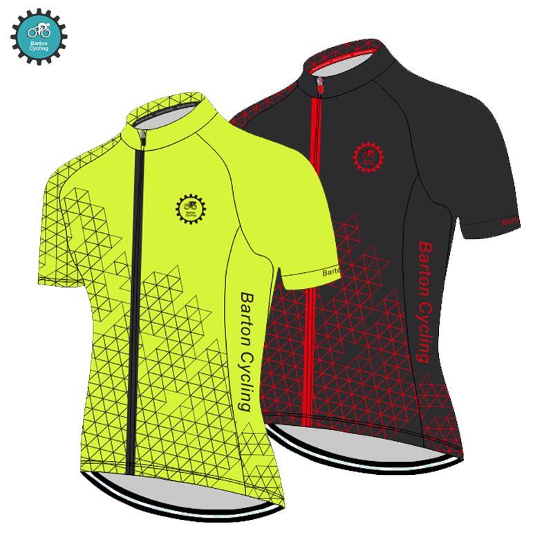 Barton Bisiklet Jersey Rekabetçi Sınıf Kalite YKK Fermuar Güç Bant Manşet Floresan Sarı Dağ Yol Bisikleti Gömlek Jersey