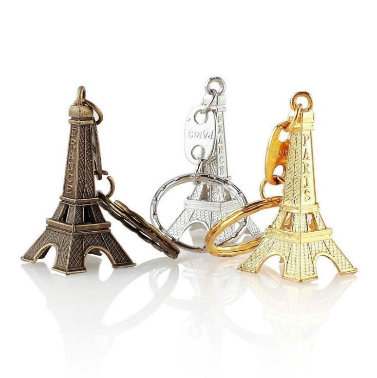 레트로 에펠 탑 키 체인 파리 프랑스 패션 크리 에이 티브 선물 키 체인 골드 은색 청동 키 링 도매를 스탬프