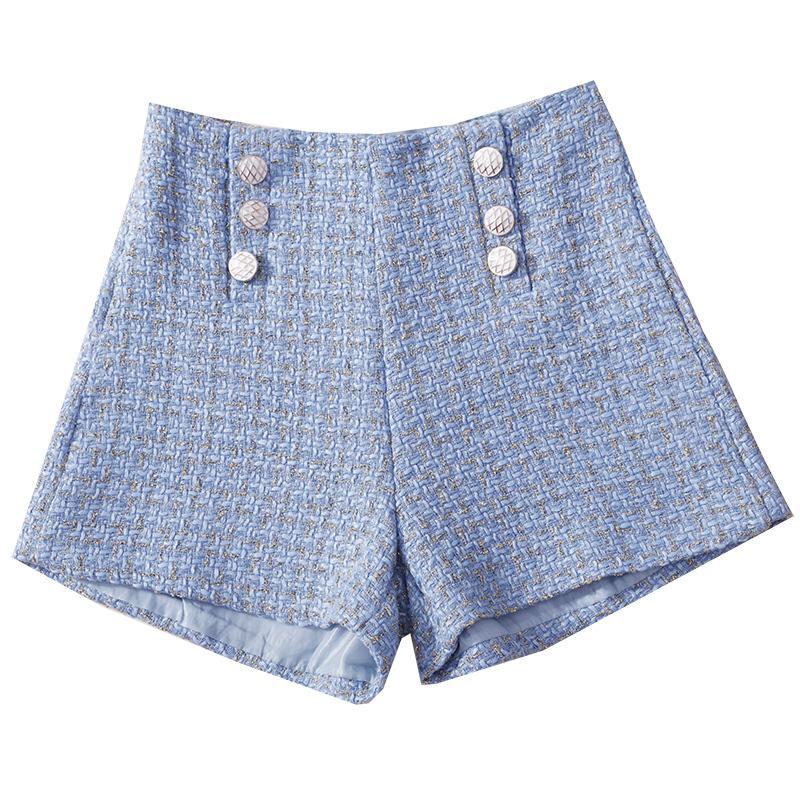0667 Botón Mujeres Tweed Pantalones cortos de otoño del resorte flojo Pantalones cortos (Corea) Contraste del inspector retro altura de la cintura de la pierna ancha mujeres pantalones cortos Negro MX200407
