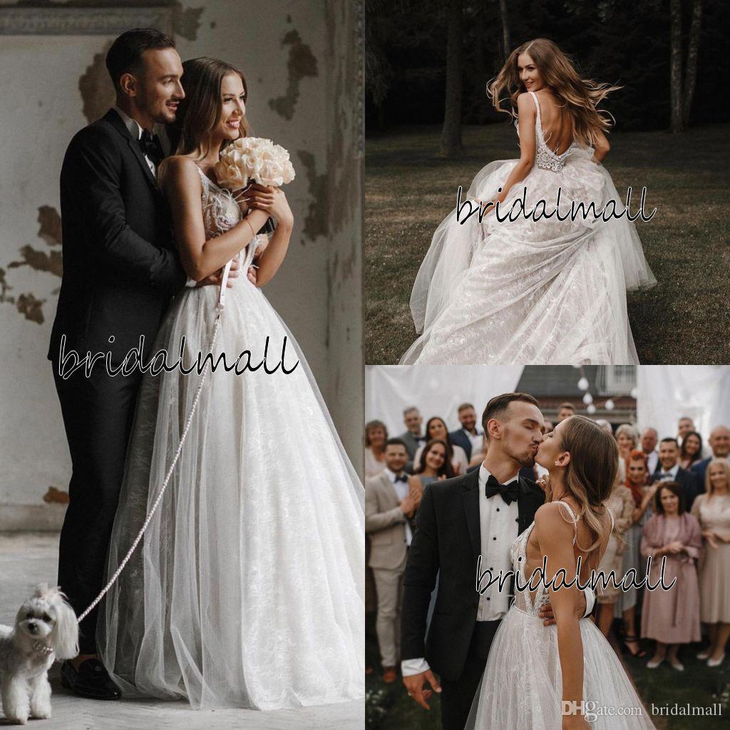 Bohemian 2020 abito da sposa in pizzo Sexy Beach Appliques Abiti da sposa perline perle di Boho Country Wedding Gowns Backless vestidos da sposa